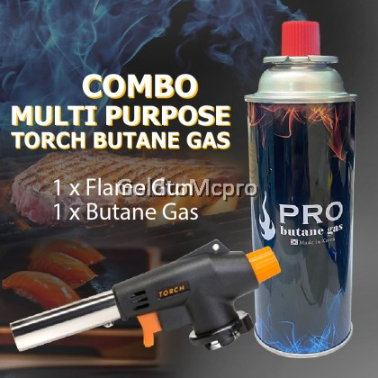 M MALL WS-505C MULTI PURPOSE TORCH IGNITION WITH GAS (SET) Butane Burner Gas Cartridge Portable Outdoor Cooking BBQ Camping