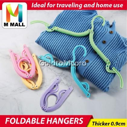 M MALL Foldable Travel Hanger Non-slip Hanger Traveller Space Saving Small Folding Hanger (Random Colour)