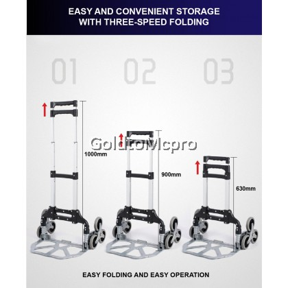 Heavy Duty Extendable Portable Foldable Trolley Climb Stairs Hand Truck Multi Purpose Shopping Trolley 6 Wheel (2124B)