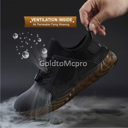 Safety Shoes Sport Shoes Anti-Smashing Anti-Piercing non-slip wear-resistant construction site safety protection work shoes - 9005 (BLACK)