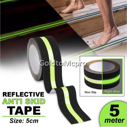 5cm x 5m BLACK REFLECTIVE ANTI SKID TAPE Rough Luminous Glow in the Dark Safety Tape for Stairs Step Floor