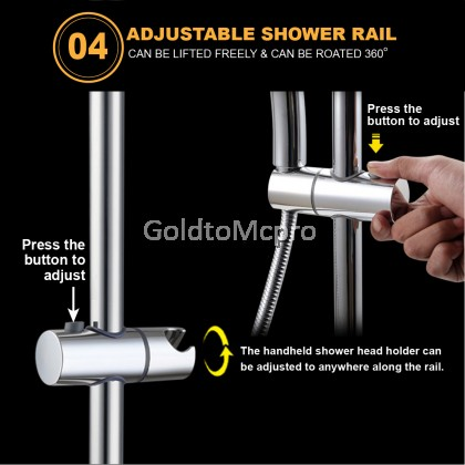 MCPRO PLUS STAINLESS STEEL SUS304 Round Rainfall Shower Set Bathroom Faucet For Water Heater (SHW07)