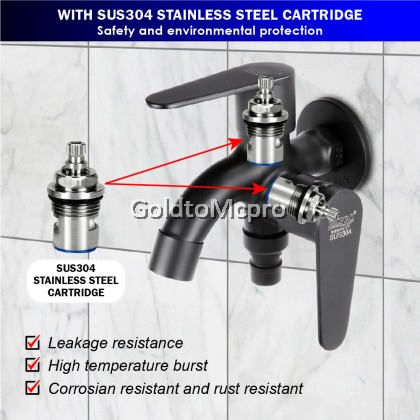 MCPRO Black Oxide Coated On Stainless Steel SUS304 Bathroom Faucet TWO WAY TAP with BIDET AND FLEXIBLE HOSE SET (SSB359)