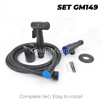 MCPRO Black Oxide Coated On Stainless Steel Bathroom Faucet ANGLE WALVE with BIDET AND FLEXIBLE HOSE SET (SSA806B)