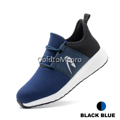 SAFETY SHOES High Quality Lightweight Comfortable Non Slip Breathable Mesh Upper Work Shoes for Men Women Steel Toe Safety Shoes - 309 (Black Grey / Black Blue)