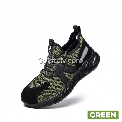 SAFETY SHOES flying woven breathable anti-smashing European standard steel toe cap Kevlar rubber-plastic bottom work protective shoes - 663 (BLACK / GREY / GREEN)
