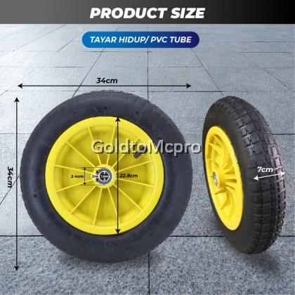 "Heavy Duty Wheel Barrow tyre / Tayar kereta sorong RIM PVC (Tayar Hidup / Tayar Mati) - 13"" x 3"""