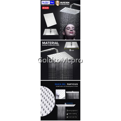 MCPRO PLUS 8 inch Square Stainless Steel SUS304 Rainfall Shower Head Rainfall Bathroom Sprayer High Pressure Rain Showerhead