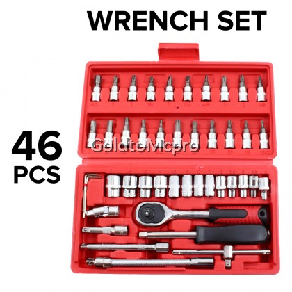 46pcs Multipurpose Chrome Socket Combination Spanner Ratchet Wrench Screwdriver Car Repair Tool Box Set