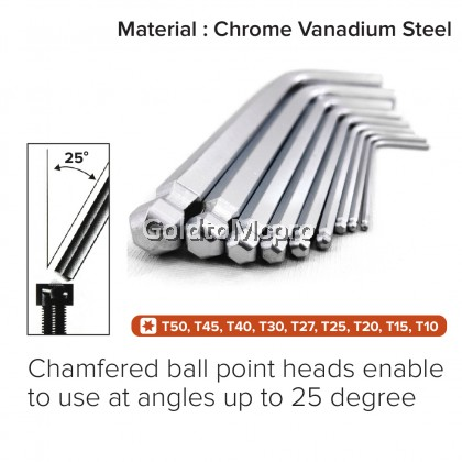 Hex Key Ball Point Set Chrome-Vanadium Steel CRV Allen Key Set Tools - 9pcs/Set