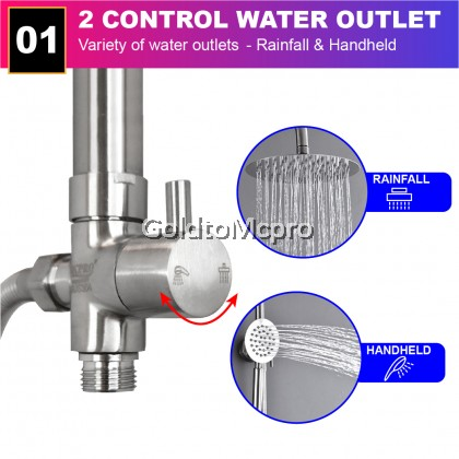 MCPRO PLUS STAINLESS STEEL SUS304 Bathroom Faucet Rainfall Shower Set For Water Heater (SHW11)