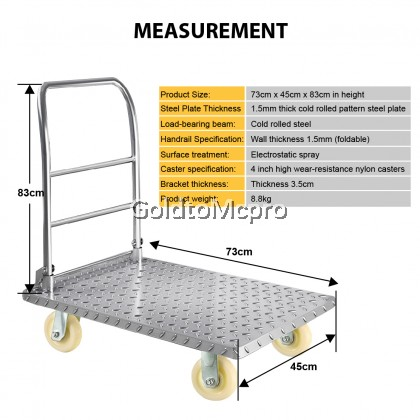 High Quality 150kg METAL Foldable Thickened Steel Plate Hand Truck Trolley